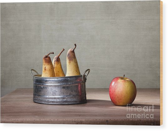 Apple And Pears 01 Wood Print