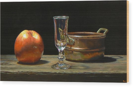 Apple Glass Copper Wood Print by Jeffrey Hayes