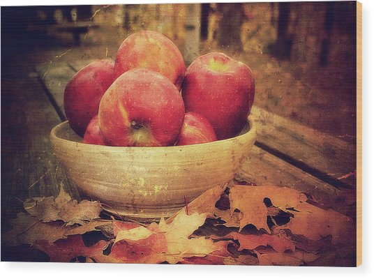 Apples Wood Print by Kathy Jennings