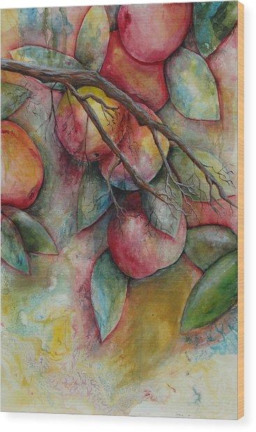 Apples On A Tree Wood Print