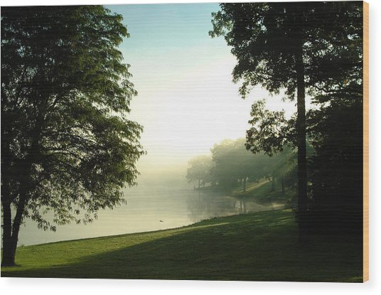 Aqua Lake Myst And Trees Wood Print