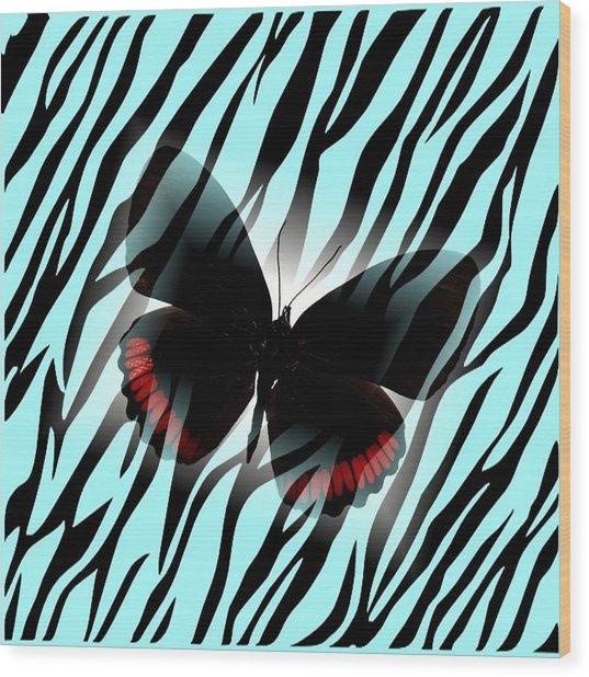 Aqua Zebra With Black Butterfly Wood Print by Florene Welebny