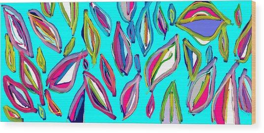 Aquamarine Leaves Wood Print by Rosana Ortiz