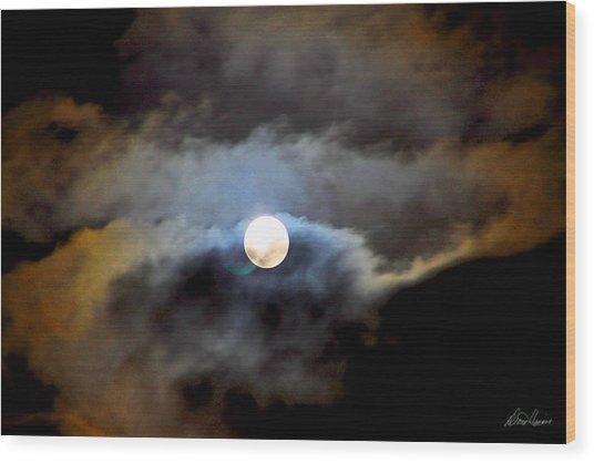 Aquarius Full Moon Wood Print