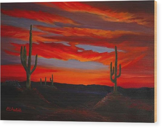Arizona Sunset Wood Print by Tom McAlpin
