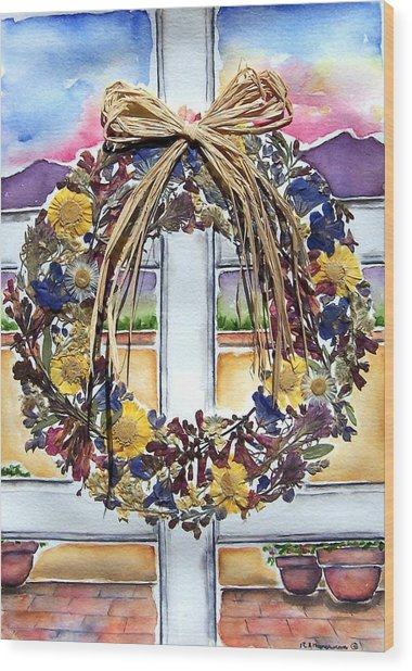 Arizona Wildflower Wreath Wood Print by Regina Ammerman
