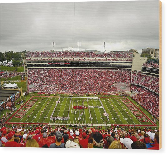 Arkansas Marching Band Forms U-of-a At Razorback Stadium Wood Print by Replay Photos