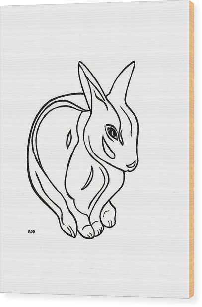 Art Deco Bunny Wood Print