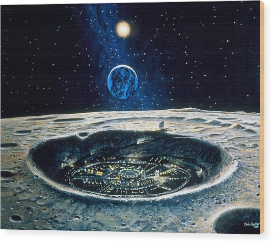 Artwork Of A City In A Crater On The Moon Wood Print by Chris Butler