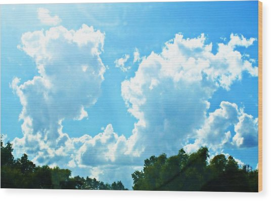 As Blue As The Sky Can Be Wood Print by Hannah Miller