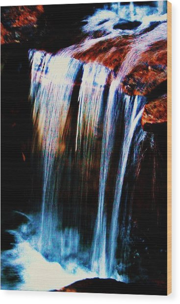 As The Water Falls Wood Print by Hannah Miller