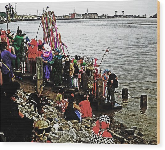 Ashes To Water Mardi Gras Day In New Orleans Wood Print