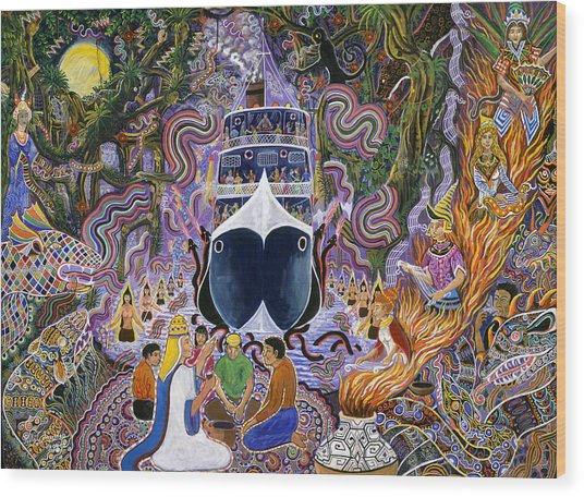 Wood Print featuring the painting Atun Supay Lancha by Pablo Amaringo