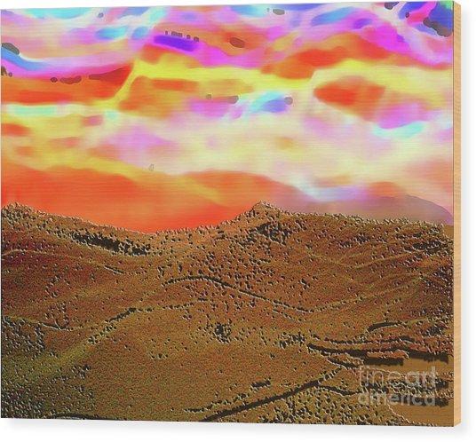 Auroa Over The Desert Wood Print