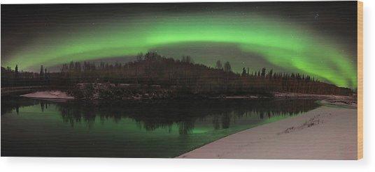 Aurora Over Chena Wood Print