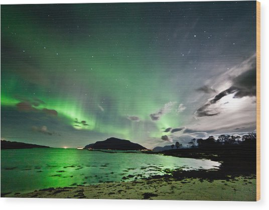 Auroras And Moon Wood Print