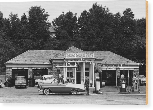 Auto At Gas Station Wood Print by George Marks