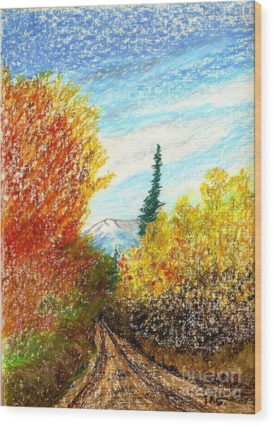 Autumn Ablaze Wood Print