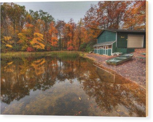 Autumn At Big Boulder Lake Wood Print