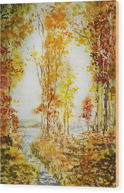 Autumn Forest Falling Leaves Wood Print