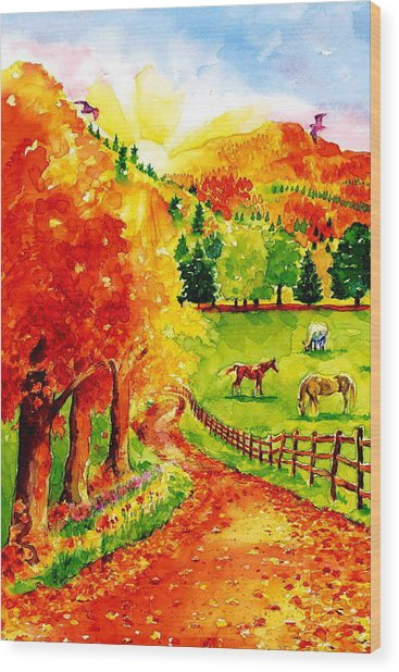 Autumn Graze Wood Print by Sloane FinneganAllen