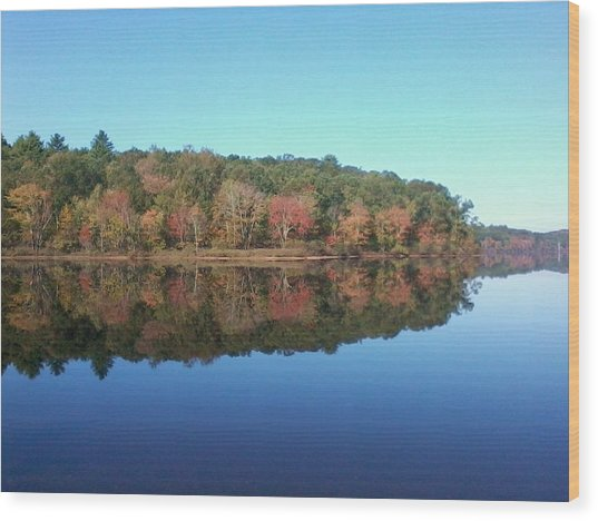Autumn Mirror Wood Print by Edwin Alverio