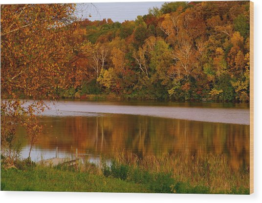 Autumn Reflection Wood Print by Susan Camden