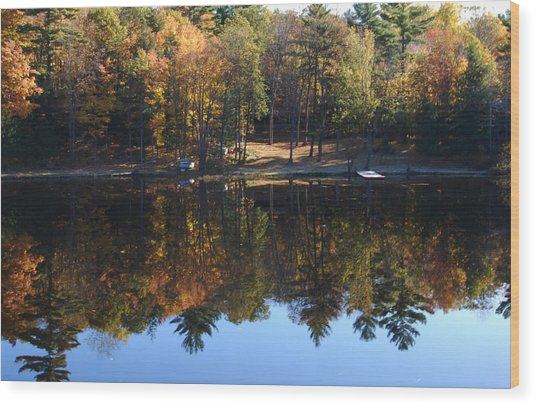 Autumn Reflections Wood Print by Kim French