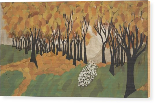 Autumn Sheep Wood Print