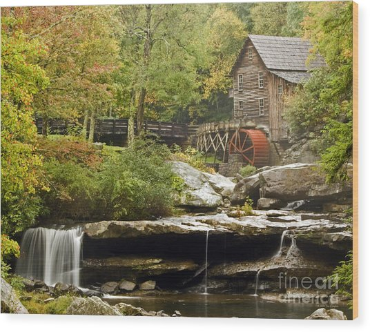 Autumn Waterfall Glade Creek Grist Mill Wood Print