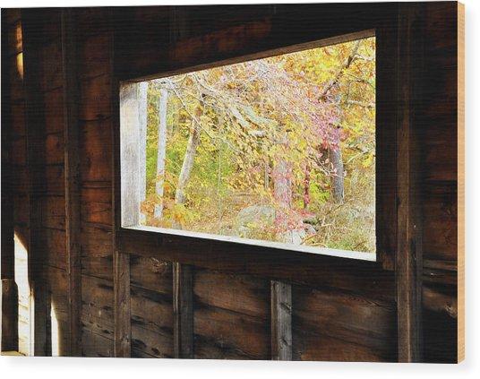 Autumn's Window Wood Print