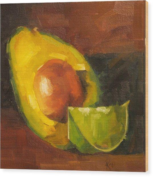 Avocado And Lemon Wood Print by Jose Romero