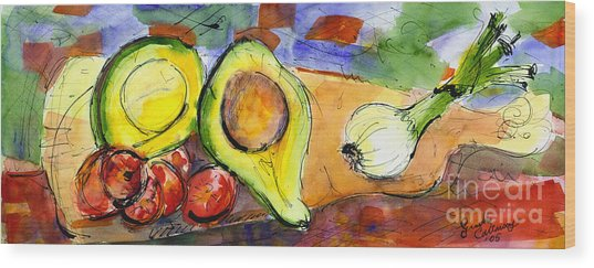 Avocado And Onions Vegetable Still Life Wood Print