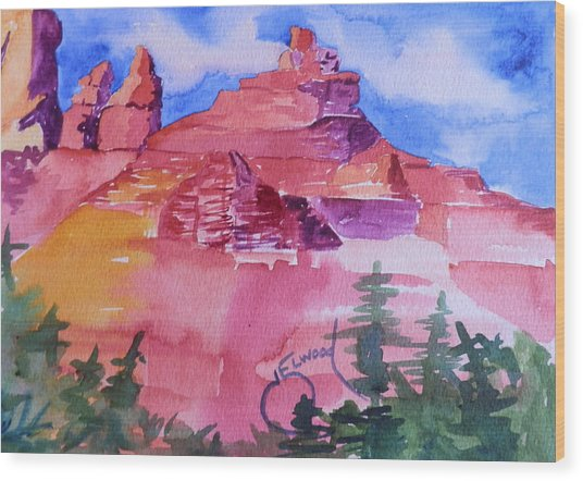 Awesome Red Mountains Wood Print