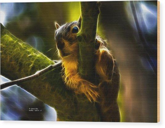Awww Shucks- Fractal - Robbie The Squirrel Wood Print