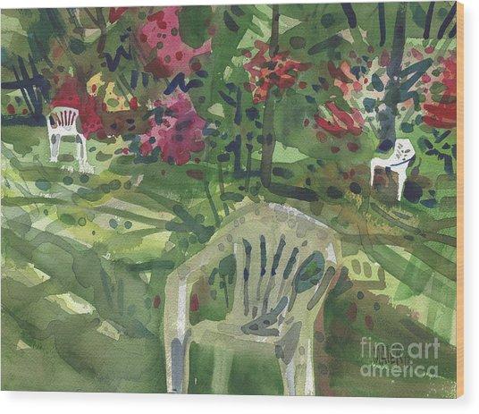 Azaleas And Lawn Chairs Wood Print
