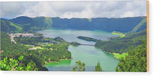 Azores-lakes Wood Print by Jenny Senra Pampin