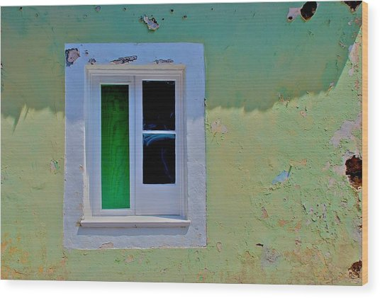 Azores Window Wood Print