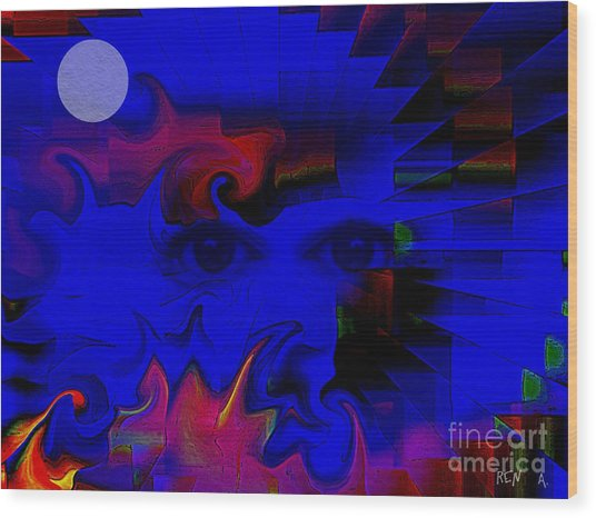 Aztec Woman Of The Moon Wood Print by Rene Avalos