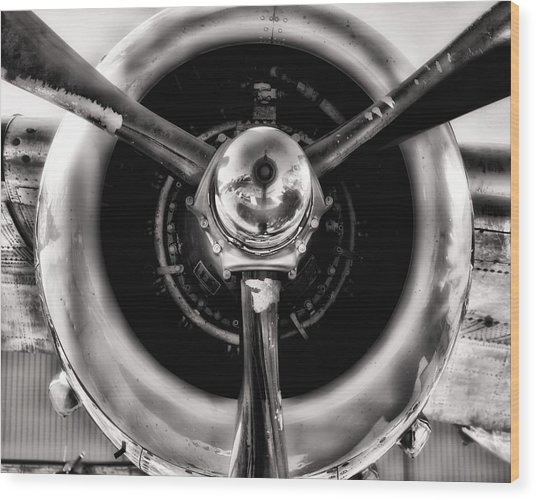 B-25 Prop Hdr Monochromatic Wood Print