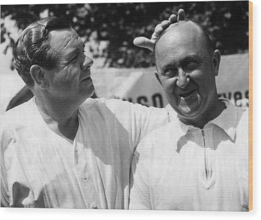 Babe Ruth, And Ty Cobb, Circa 1941. Csu Wood Print by Everett