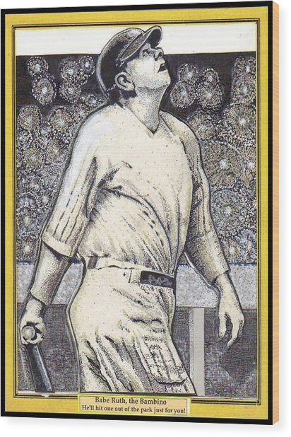 Babe Ruth Hits One Out Of The Park  Wood Print