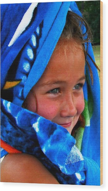Baby Blue Eyes Wood Print by Carrie OBrien Sibley