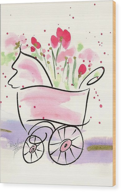 Baby Buggy Note Card Wood Print