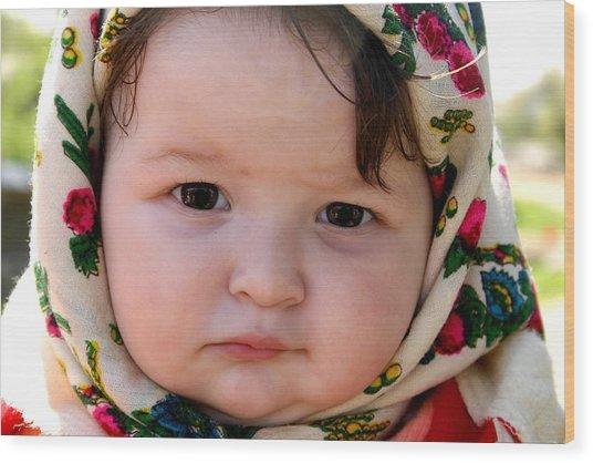 Baby Girl From Maramures Romania Wood Print