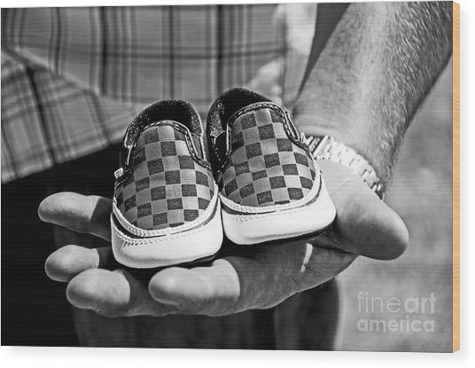 Baby Shoes Wood Print by Baywest Imaging