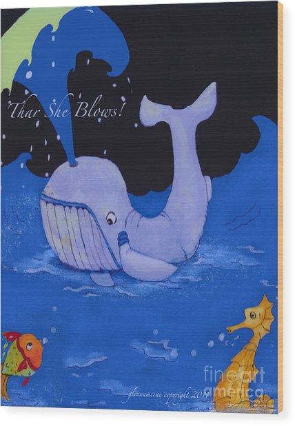 Baby Whale Wood Print