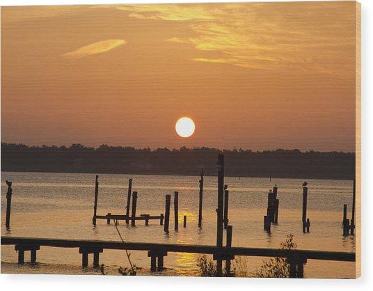 Back Bay Biloxi Sunrise Wood Print by Diane Carlisle