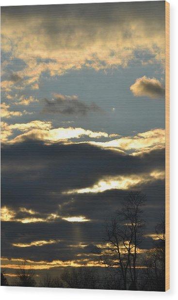 Backlit Clouds Wood Print