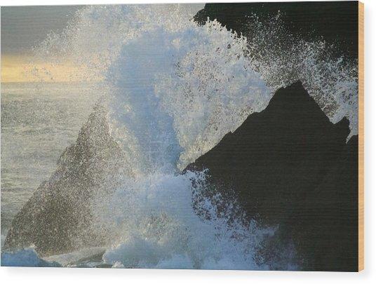 Backlit Wave 2 Wood Print